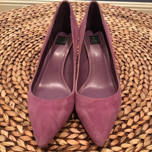 White House Black Market Shoes - White House Black Market purple suede pumps